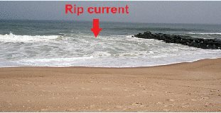 Rip Currents frequently form around structures